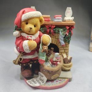 Cherished Teddies Santa bear by fireplace, #534242